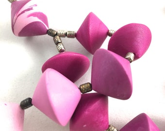 Pink beaded choker necklace polymer clay bi cone beads chunky art beads