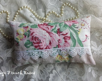 Lavender Sachet Sleep Pillow Pink Roses Vintage Barkcloth Venetian Lace Pink Ticking Aromatherapy French Lavender Filled Romantic Cottage
