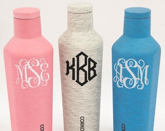 Monogrammed 16oz Corkcicle Heathered Canteen..Personalized Drinkware..Monogrammed Water Bottle..Custom Corkcicle..Water Bottle