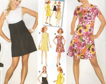 Simplicity 3833 Contrast A-Line Mini Dress Retro Reissue 1960s Style Size 6, 8, 10, 12, 14 Spanish Espanol and English Instructions