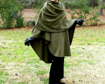 Olive Green Anti Pill Fleece Wrap, Shawl, Cape, Shrug or Ruana--Lightweight Warmth--One Size Fits Many