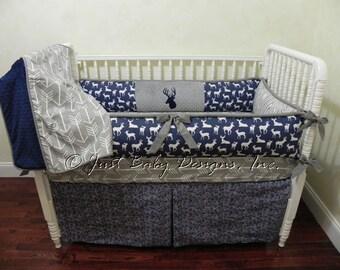 Custom Baby Bedding Set Silas -  Boy Baby Bedding, Navy Deer Bedding, Gray Arrows Crib Bedding