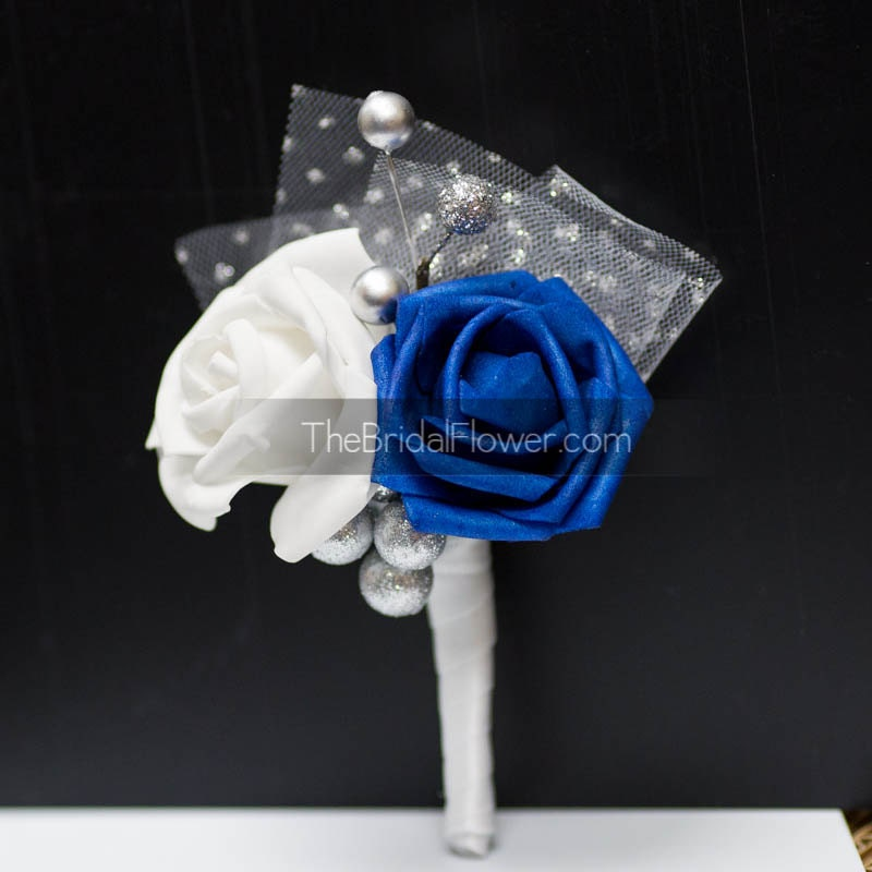 Wedding boutonniere winter boutonniere Royal blue and silver