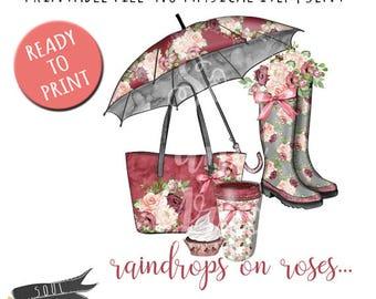 Raindrops on roses- INSTANT DOWNLOAD - PDF Printable - Umbrella, Rainboots, Latte Spring