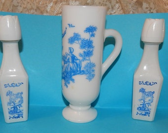 Blue and White Milk Glass Mug by Avon and 2 Small Vandermint Liqueur Bottles with Blue Transfers Windmill  Scenes