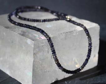 Iolite Necklace, Iolite Choker, all Iolite, Blue Necklace, Wrap Bracelet, Sterling Silver, Three Wrap