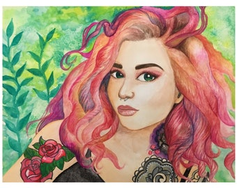 Pink Haired Woman Painting Original