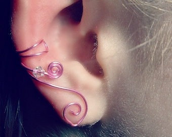 Celtic Ear Cuff Princess Pink, No Piercing, Fairy Jewelry, Fantasy Vine Wrap, Gift Idea, Gift for Her Stocking Stuffer