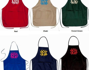 Monogrammed Aprons - Various Colors