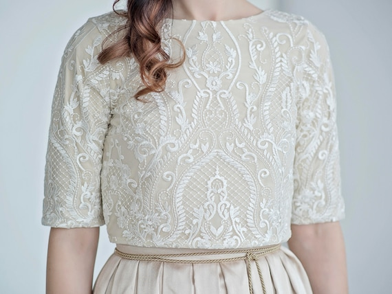 Oria - white and gold wedding top
