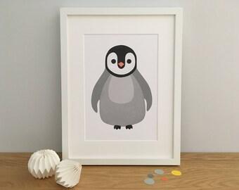 Penguin Nursery Print, Penguin Art Print, Penguin Wall Art, Penguin Personalised Print, Personalized Penguin Print, Penguin Nursery, Baby