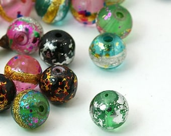 20pc mix color 10mm painted glass beads-7260