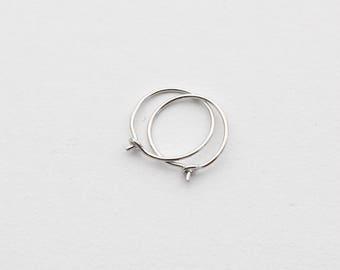 Thin Solid Platinum Hoops. .950 Platinum Hoop Earrings. Choose your size and gauge. Handmade Hoop Earrings.