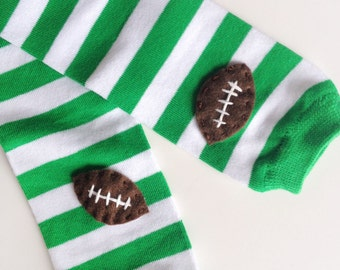Football Baby Leg Warmers: green and white stripes with footballs - Snack Size Leg Candy