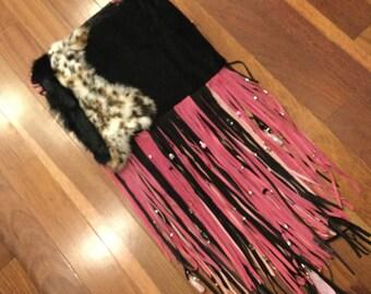 Handmade Pink and black fringed suede clutch bag
