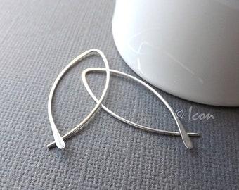 Silver Hoop Earrings Threader Hoops, Open Hoop Earrings, Minimal Hoop Earring, Almond Leaf Hoops, Pisces Hoop, handmade jewelry gift