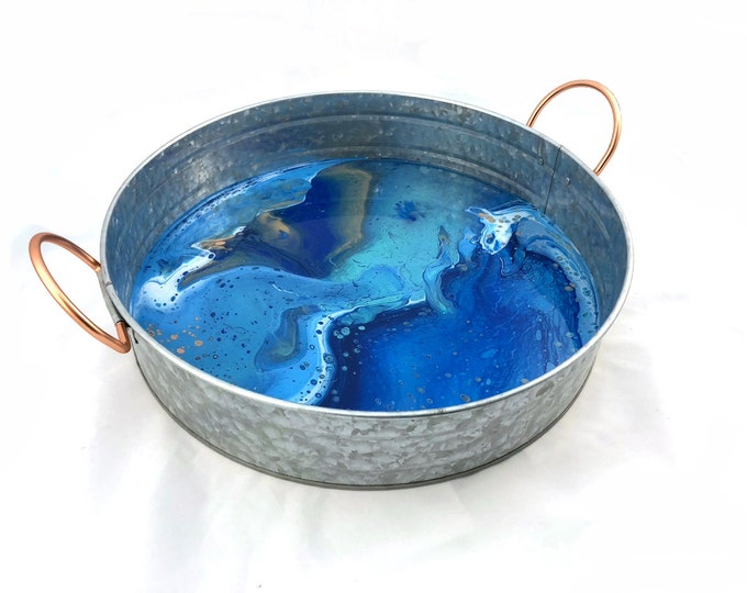 Blue and Galvanized Steel Decorative Round Tray