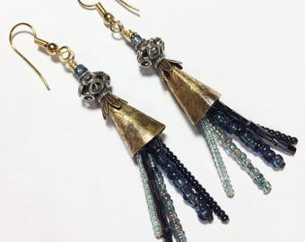 Boho Etched Brass Cone Earrings - Free Domestic Shipping