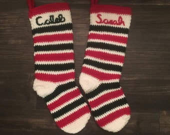 Custom Crochet Christmas Stockings- Set of 2