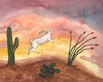 RESERVED for LS - Original Art -  Desert Sunset - Watercolor Rabbit Painting