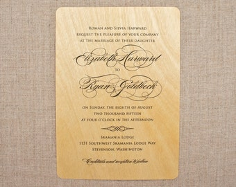 Real Wood Wedding Invitations - Gorgeous Calligraphy