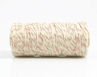 RED + WHITE TWINE - Metallic Red & White Two-tone Twisted Cotton String / Bakers Twine (100 meter spool)