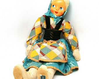 Vintage Doll, Poland, Ethnic Costume, Polish, Stuffed Cloth, Jointed, Mask Celluloid Face, Souvenir, 1940