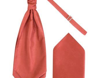 Boys Coral Orange Luxury Dupion Scrunchie Cravat with matching Pocket Square Pre-Tied