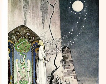 East of the Sun, West of the Moon - Out flew the Moon. Kay Nielsen. Vintage Digital Illustration. Deco Download. Vintage Digital Print.