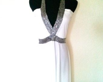 High-low Plunge Neckline Pure White and Sequin Halter Dress
