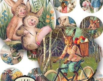 Easter Bunnies and Chicks on bikes circus eggs from Victorian Postcards in 1.5 inch Circles Two -- piddix digital collage sheet 269