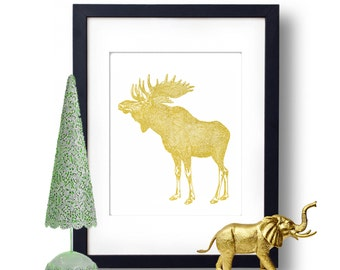 Moose Art Print, Gold Foil Print, Wall Art, Nature Gift Idea Forrest Creatures
