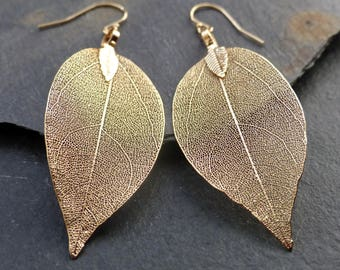 Real leaf earrings, 18K gold leaf earrings, dipped leaves, natural woodland jewelry, gift for women