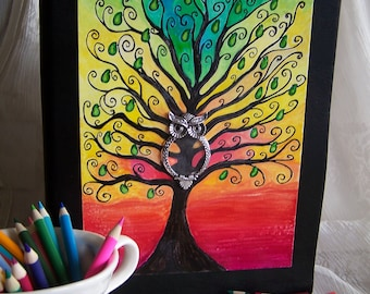 Owl, tree of pears