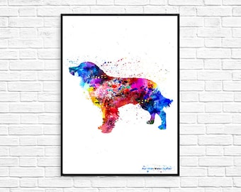 American Water Spaniel Watercolor , Graphic Dog Original Artwork Print Poster