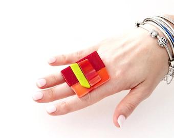 Beach Glass Statement Ring  - fall fashion, cocktail ring, handmade ring, beach glass , statement ring, handmade ring, geometric jewelry