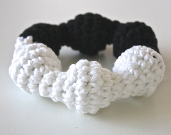 Black and White, Soft Baby Rattle, Teething Ring, Montessori, Waldorf.  Simple Montessori inspired toys for all babies