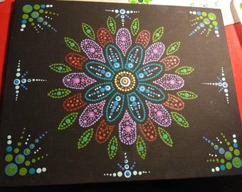 Flower dot mandala acrylic painting