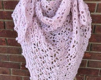 Hand crocheted shawl/shoulder wrap/boho scarf/triangle shawl/wedding shawl/pink shawl