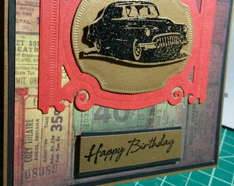 Handmade Masculine  Birthday Card or Father's Day Card with a heat embossed Vintage Car and Patterned Paper.