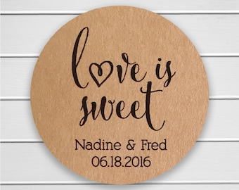 Love is Sweet Wedding Stickers, Rustic Wedding Seals, Wedding Stickers, Kraft Wedding Stickers (#121-KR)