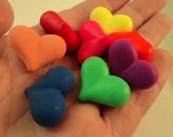 Bright Matte Acrylic Heart Beads - Set of 10 - #SH124