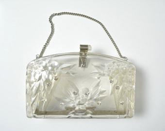 Vintage 1950s 50s Lucite Purse Rhinestones Evening Bag