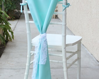 Chiavari Chair Hoods Aqua Spa, Chair Drapes, Chair Backs   Wedding Chair Covers, Table Decor