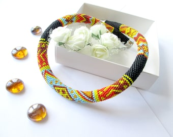 Bead Crochet Necklace Persia East Black rope Orange necklace Bright choker Blue Sunny Evening jewelery for her Africa necklace For men