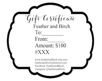 Feather and Birch Gift Card Certificate Voucher