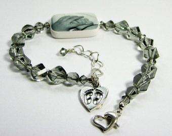 Custom Swarovski Crystal Bracelet, Medium Photo Charm - P2RB13a