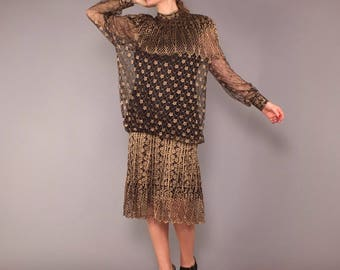 80s Vintage Sheer Gold Lace Drop Waist Dress Long Sleeves Tea Length or Mini M L