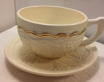 Ceramic Cup and Saucer in a Grape Design