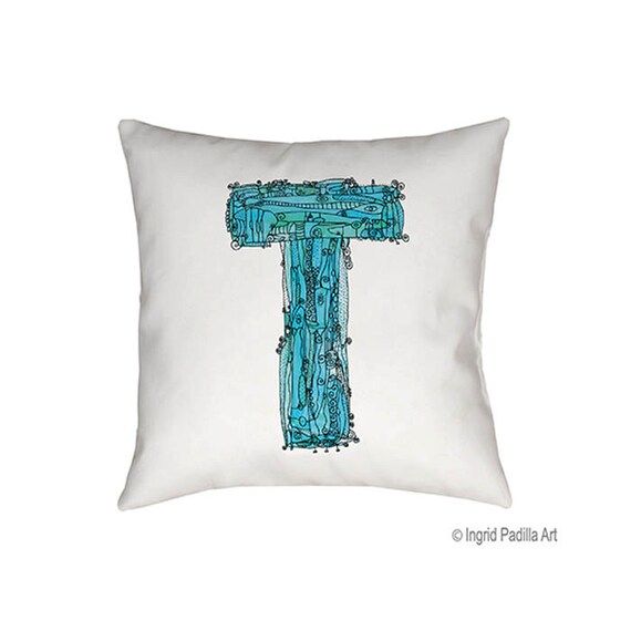 Whimsical, Letter, T, Pillow, blue, monogrammed pillow, Illustration, funky, typography, Alphabet, Art, Decor, fabric, Ingrid Padilla